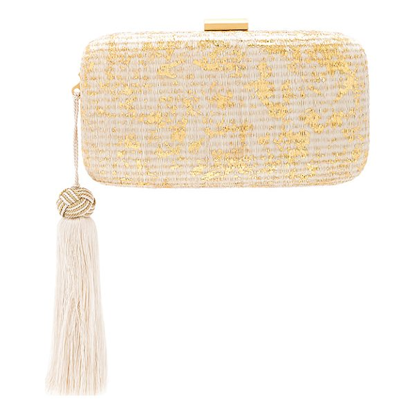 "KAYU Charlotte Clutch - ""Woven straw exterior with microfiber lining. Top clasp..."