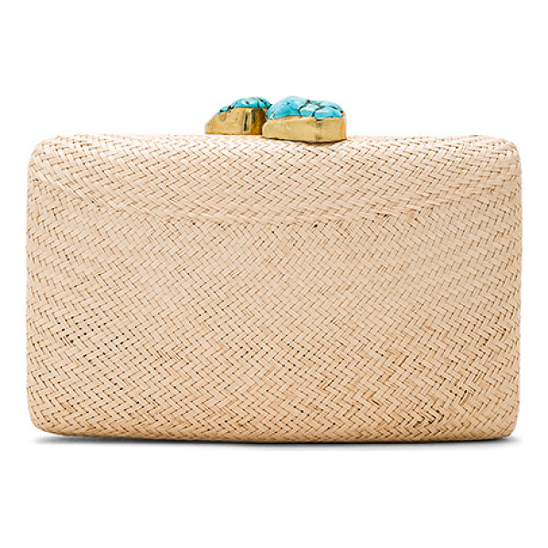KAYU Jen Clutch - Woven straw exterior with poly fabric lining. Turquoise...