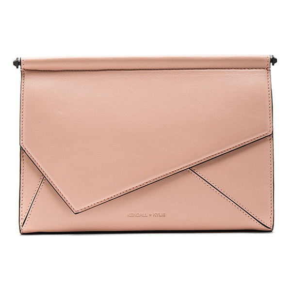 KENDALL + KYLIE Ginza Clutch - Leather and embossed leather exterior with suede textured