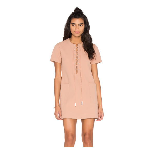 KENDALL + KYLIE Lace Up Safari Dress - Poly blend. Dry clean only. Unlined. Lace-up front with tie...