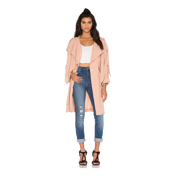 KENDALL + KYLIE Lightweight Trench Coat - Poly blend. Dry clean only. Button front closure. Waist...