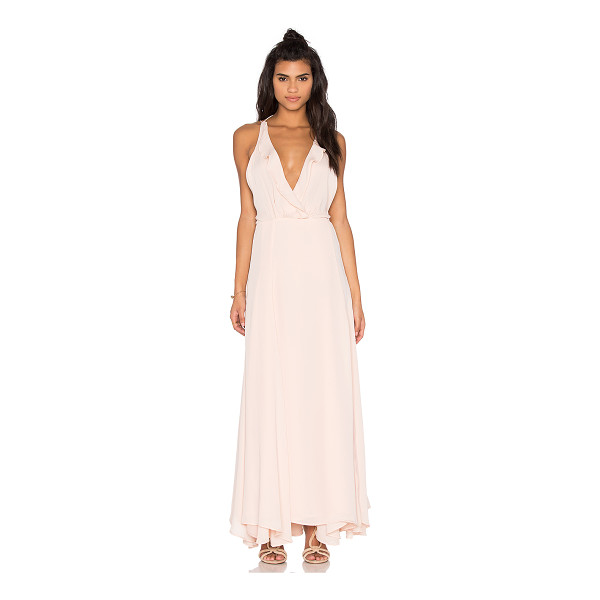 KENDALL + KYLIE Ruffle Wrapped Maxi Dress - Poly blend. Dry clean only. Fully lined. Wrap front with...