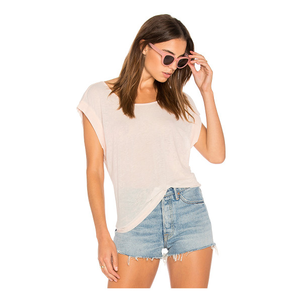 LAMADE Vox Tee - 50% cotton 50% poly. Slub knit fabric. Banded arm openings....