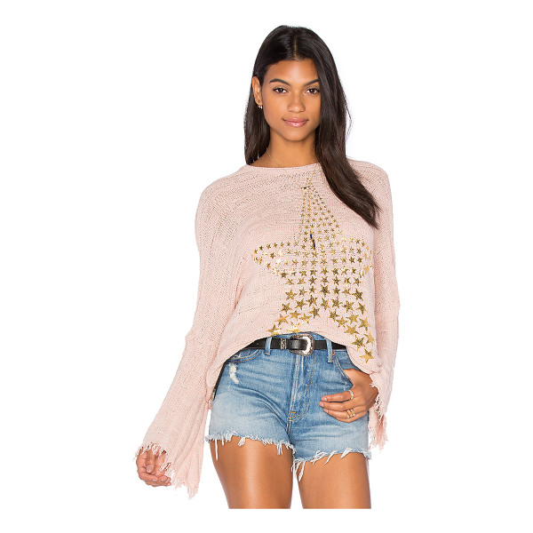 LAUREN MOSHI Esme Fringe Bell Sleeve Sweater - 41% cotton 40% rayon 17% poly 2% spandex. Dry clean...