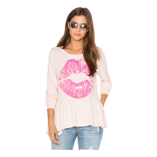 LAUREN MOSHI Fiora Ruffle Pink Lip Tee - 50% cotton 50% poly. Dry clean recommended. Screen print...
