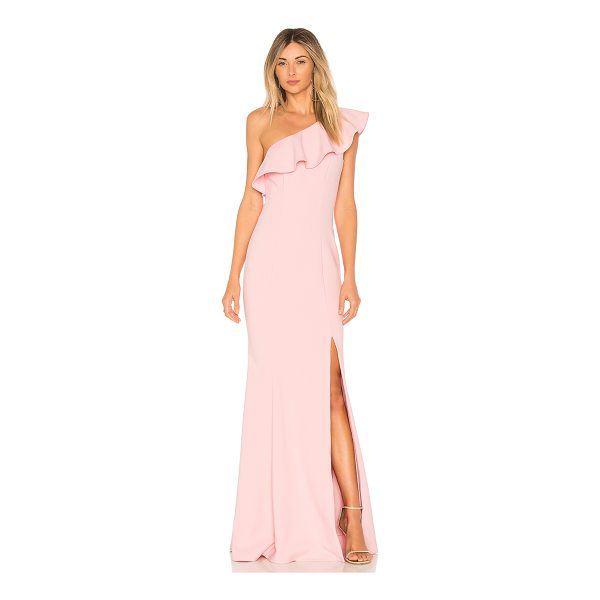 LIKELY Kane Gown - Poly blend. Dry clean only. Fully lined. Draped ruffle...