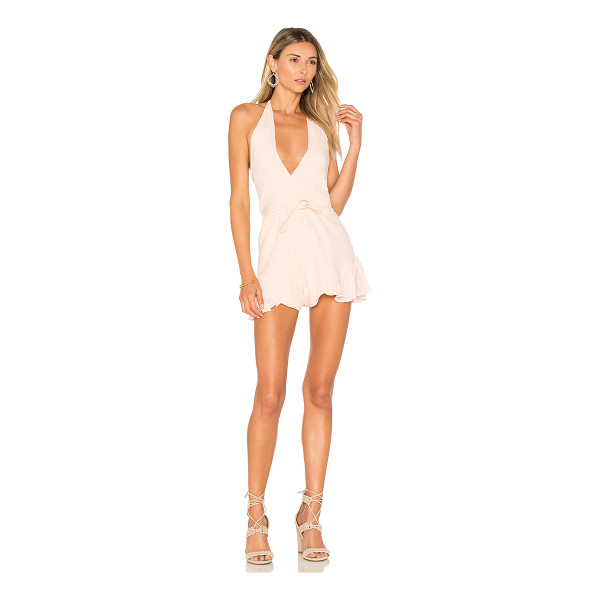 """LIONESS All Summer Long Romper - """"65% cotton 35% hemp. Dry clean only. Halter strap ties..."""