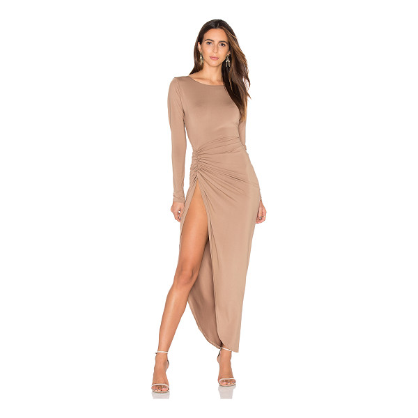 LIONESS Amore Split Maxi Dress - 95% poly 5% spandex. Unlined. Ruched side with slit.
