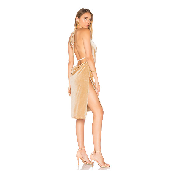 LIONESS Vegas Velvet Mini Dress - 100% poly. Dry clean only. Unlined. Halter strap ties...