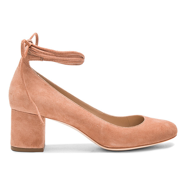 LOEFFLER RANDALL Clara Heel - Suede upper with leather sole. Wrap ankle with tie closure.