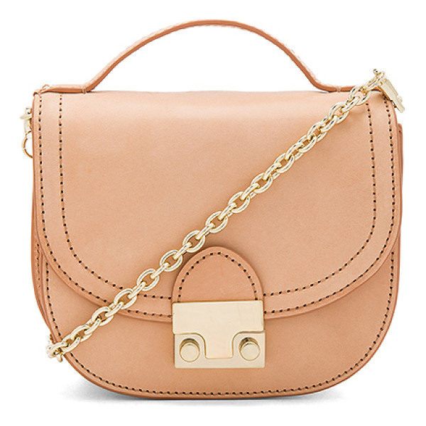 LOEFFLER RANDALL Mini Saddle - Leather exterior with printed fabric lining. Flap top with...