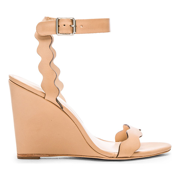 LOEFFLER RANDALL Piper wedge - Leather upper and sole. Scalloped edges. Buckle closure....