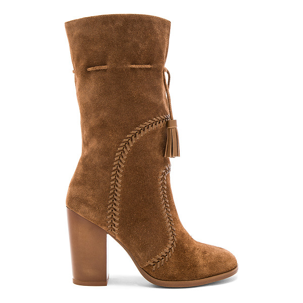 "LOLA CRUZ Lutak Boot - ""Suede upper with rubber sole. Decorative stitched detail...."
