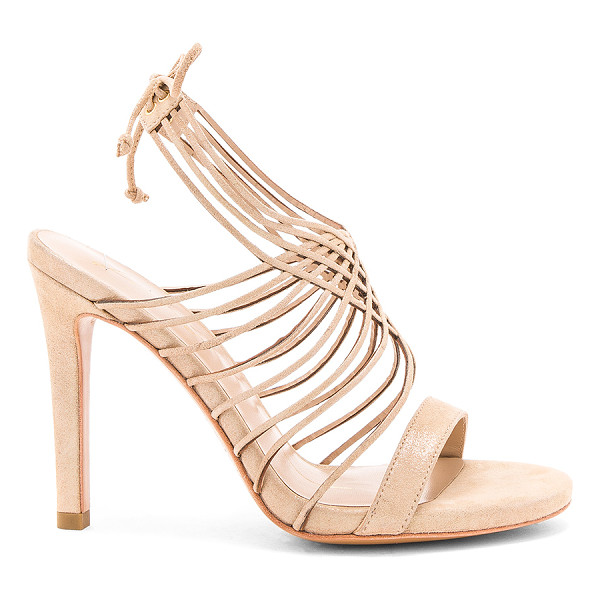 "LOLA CRUZ Strappy Heel - ""Glittered suede upper with leather sole. Ankle strap with..."