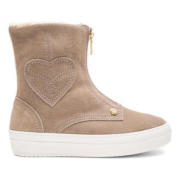 LOVE MOSCHINO Ankle Boot with Sherpa Lining - Suede upper with rubber sole. Front zip closure. Faux