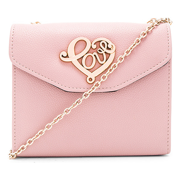 LOVE MOSCHINO Chain crossbody - Leather exterior with nylon fabric lining. Flap top with...