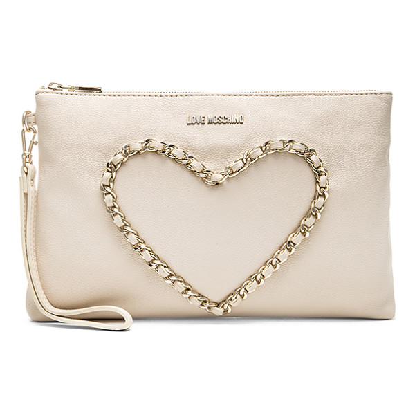 LOVE MOSCHINO Heart clutch - Faux leather exterior with jacquard fabric lining. Measures...