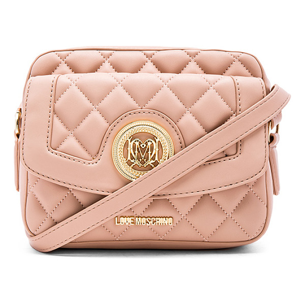 LOVE MOSCHINO Quilted crossbody - Quilted faux leather exterior with signature jacquard...