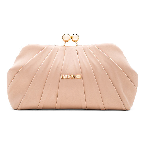 LOVE MOSCHINO Satin clutch - Satin textile exterior with nylon fabric lining. Top clasp...