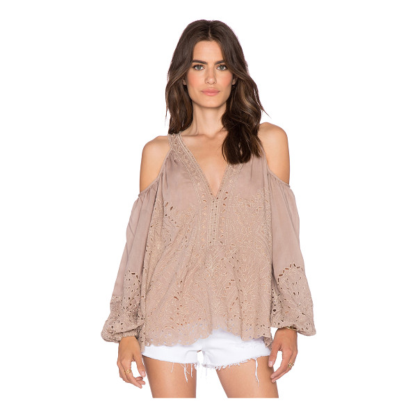 LOVE SAM Eyelet cut out embroidered top - Cotton blend. Shoulder cut-outs. Elasticized cuffs....