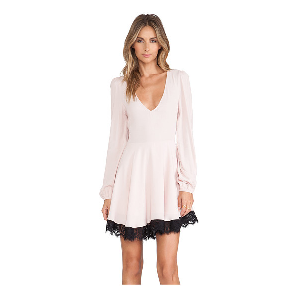LOVERS + FRIENDS Shimmy dress - Poly blend. Fully lined. Lace trimmed hem. Back cut-out...