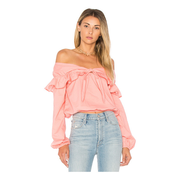 LOVERS + FRIENDS X REVOLVE Rebecca Top - 100% cotton. Dry clean only. Ruffle tie detail. Elasticized...