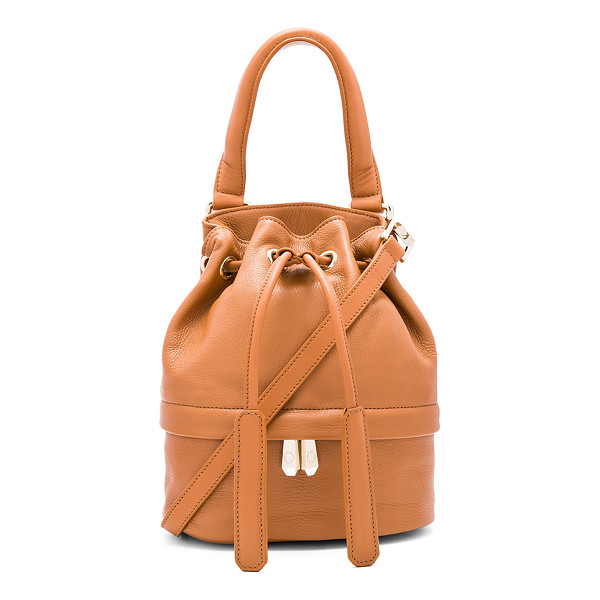 LUANA ITALY Theo Baby Bucket Bag - Leather exterior with nylon fabric lining. Drawstring top