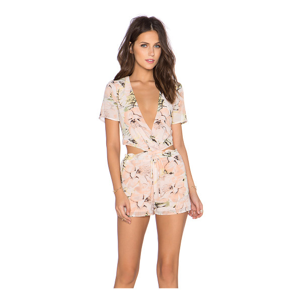 LUCCA COUTURE x REVOLVE Deep V Open Back Romper - Poly blend. Drawstring waist. Waist cut-out. LUCC-WR25....