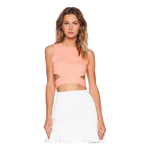 LUCY PARIS Rib cutout crop top - 52% viscose 48% nylon. Side waist cut-outs. Exposed back...