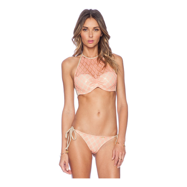 LULI FAMA Diamantes de Coral Crochet Bikini Top - 80% nylon 20% spandex. Hand wash cold. Ties around neck....