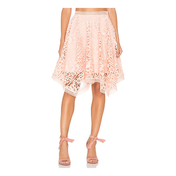 LUMIER Squire Hem Lace Skirt - Poly blend. Hand wash cold. Fully lined. Bold allover lace...
