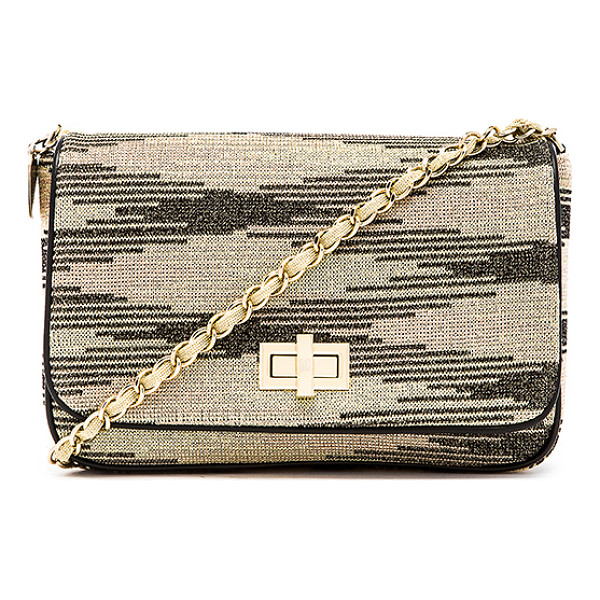 M MISSONI Lurex zig zag chain handbag - Woven fabric exterior with fabric and leather lining....