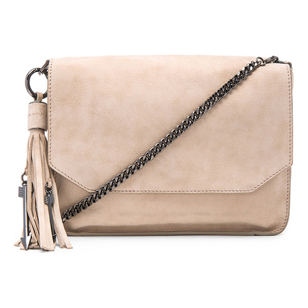 MACKAGE Imogen shoulder bag - Suede exterior and lining. Flap top with magnetic closure....