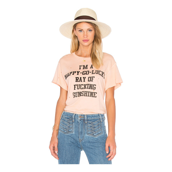 MADEWORN I'm A Happy Go Lucky Tee - 100% cotton. Velveteen textured front graphic print....