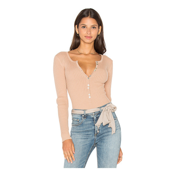 MAJORELLE Lariat Bodysuit - 80% cotton 20% nylon. Front button closure. Rib knit...