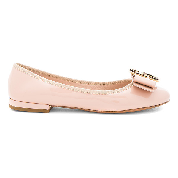 MARC JACOBS Interlock Round Toe Ballerina - Patent leather upper with leather sole. Slip-on styling....