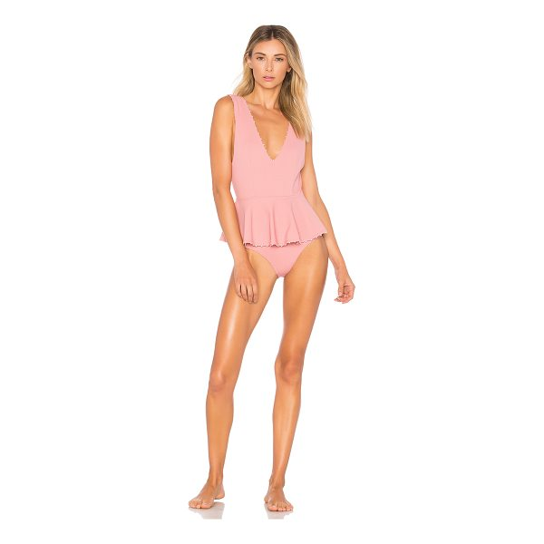 MARYSIA SWIM Peplum Maillot One Piece - Nylon blend. Hand wash cold. Mini pom pom trim. Draped...