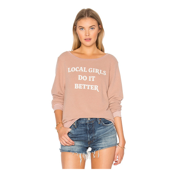 MATE THE LABEL Gigi Local Girls Do It Better Jumper - Cotton blend. Screen print graphics. Banded edges....