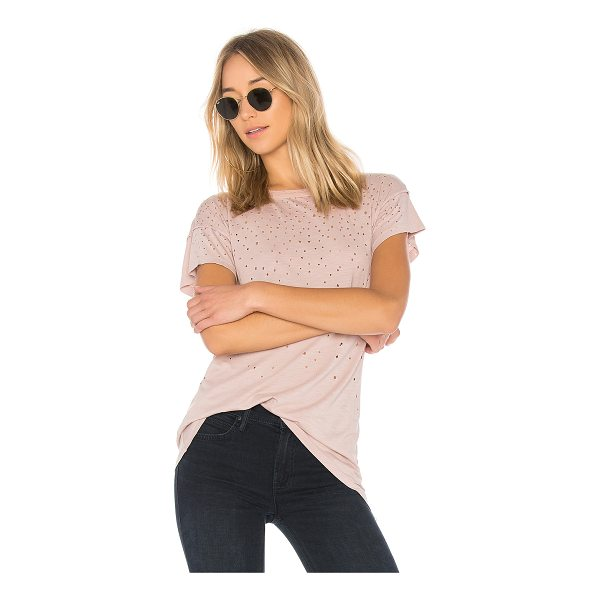 MATE THE LABEL Kat Tee Distressed - Cotton blend. Burnout fabric. Intentional holes throughout....
