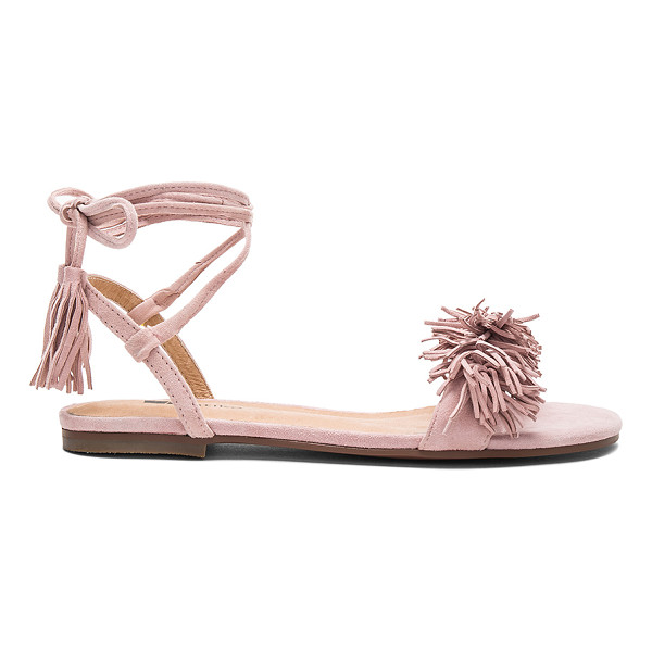 MATIKO Delilah Sandal - Suede upper with man made sole. Wrap ankle with fringed...