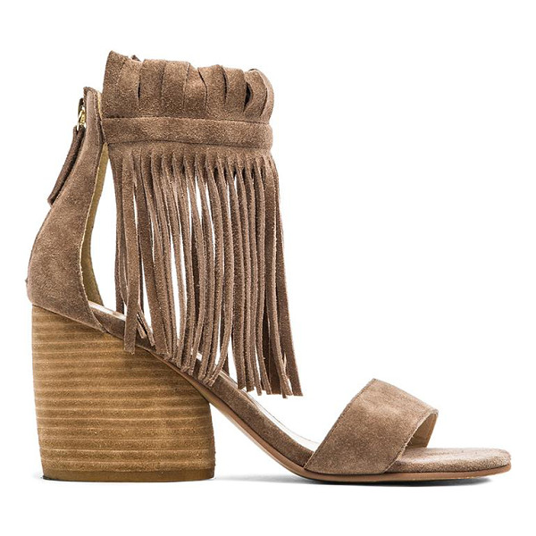 "MATIKO Morgan Fringe Sandal In Taupe - Suede upper with man made sole. Heel measures approx 3"""" H...."