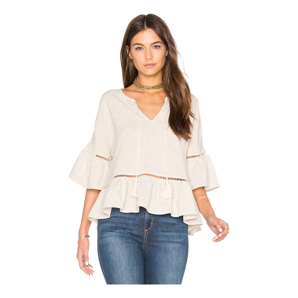 MAVEN WEST Ruffle Lattice Top - 85% rayon 15% linen. Dry clean only. Keyhole front with tie...