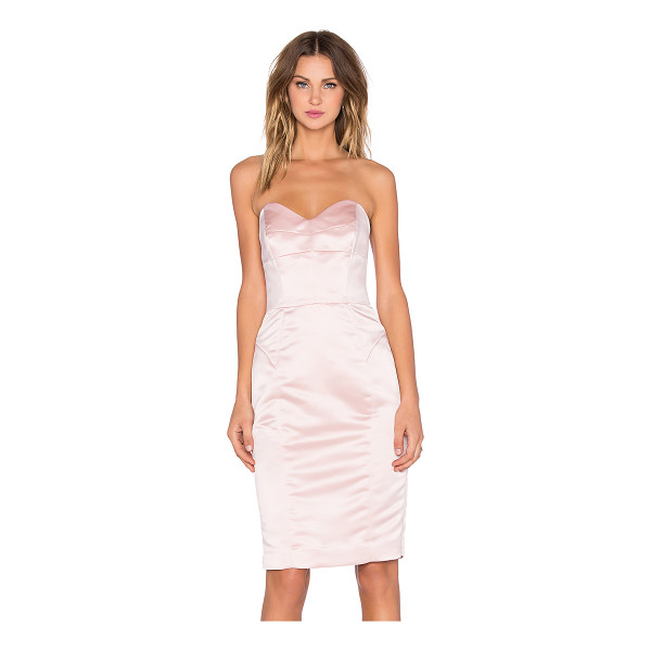 MILLY Marta duchess satin strapless dress - Poly blend. Dry clean only. Fully lined. Plastic bodice...