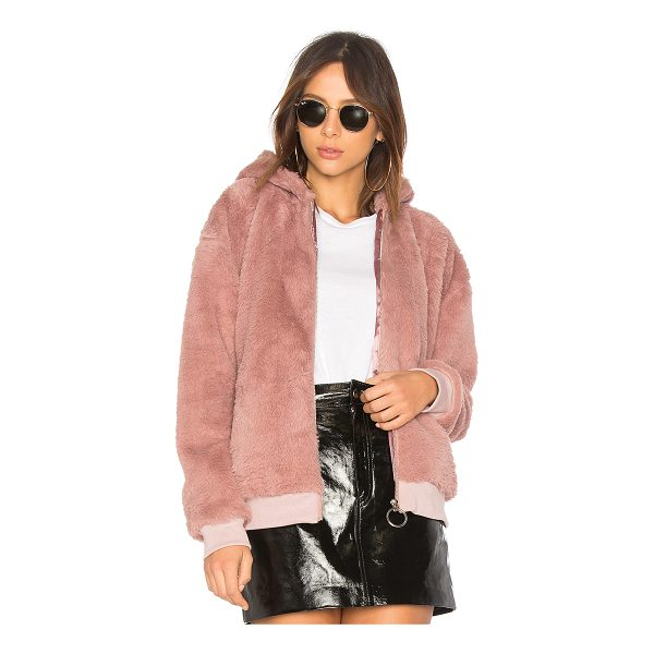 MINKPINK Fluffy Faux Fur Hooded Jacket - Self & Lining: 100% poly. Dry clean only. Zipper front...