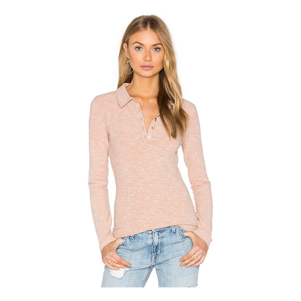 MINKPINK Rib Polo Top - Cotton blend. Partial front button placket. Rib knit...