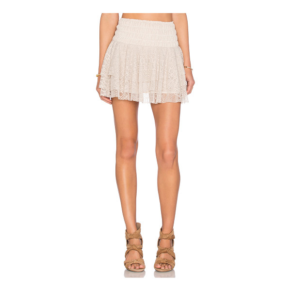 MISA Pilar Lace Ruffle Skirt - Poly blend. Hand wash cold. Fully lined. Elasticized waist....