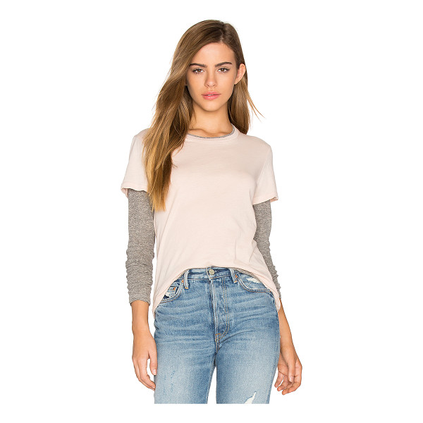 MONROW Double Layer Long Sleeve Tee - Cotton blend. Contrast color blocking. Jersey knit fabric....