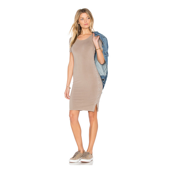 MONROW Fitted Lace Up Dress - Modal blend. Unlined. Laced side detail. Jersey knit...