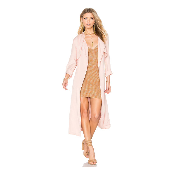 MONROW Long Trench Coat - 100% tencel. Open front. Storm flap. Belted waist. Back...