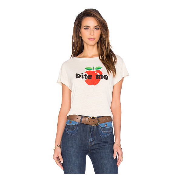 MOTHER Lovin goodie goodie crop tee - 100% silk. Front graphic print. Intentionally pilled...